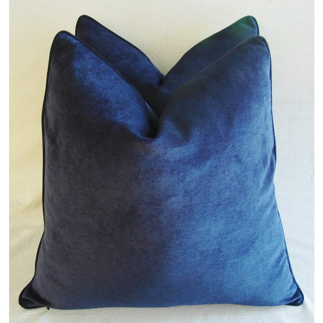 Large Designer Midnight Blue Velvet Feather/Down Pillows - Pair - Image 7 of 10
