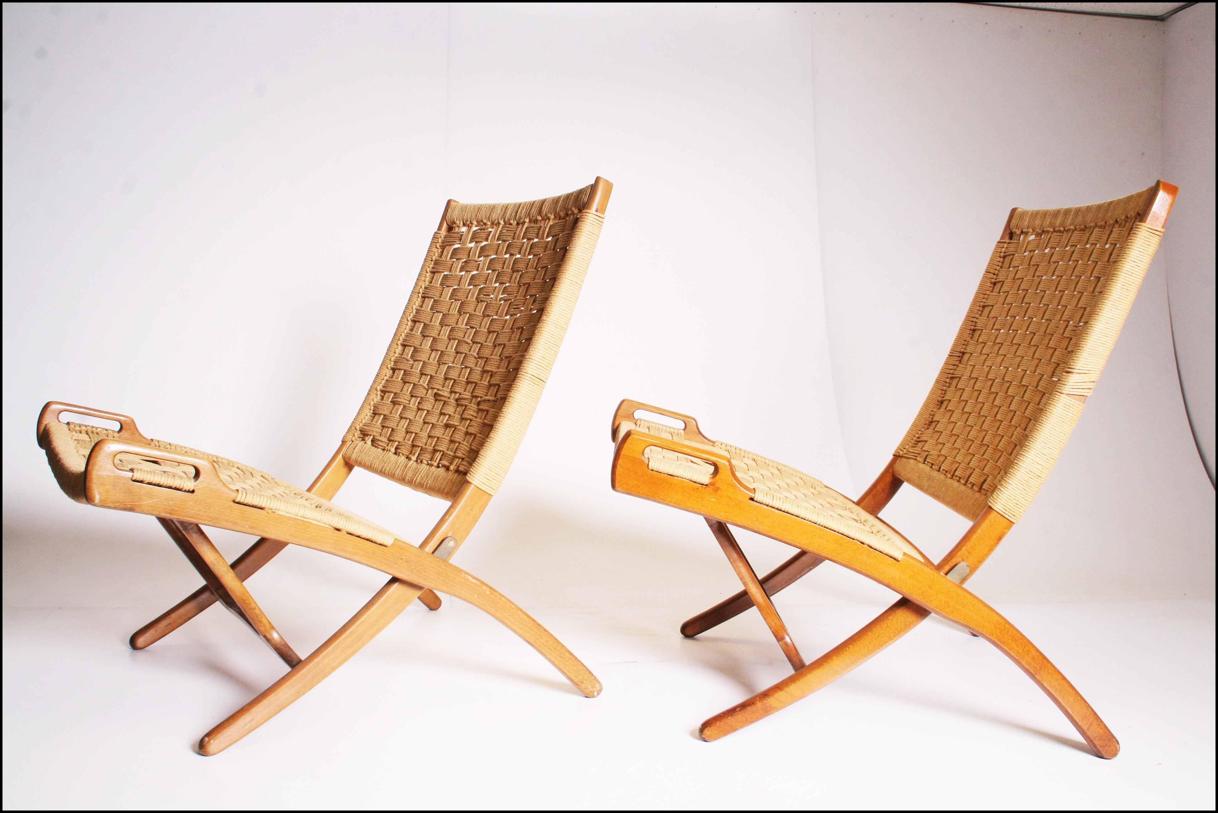 Mid Century Modern Hans Wenger Style Rope Folding Chairs   A Pair   Image 2  Of