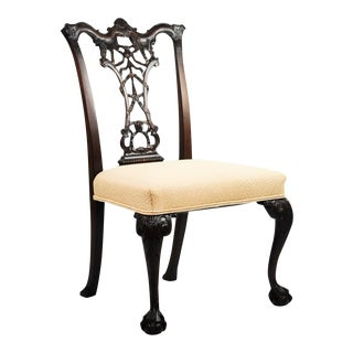 Cream & Gold Coral Print Upholstery Chippendale Accent Chair