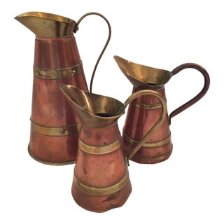 Vintage English Copper Jugs - Set of 3