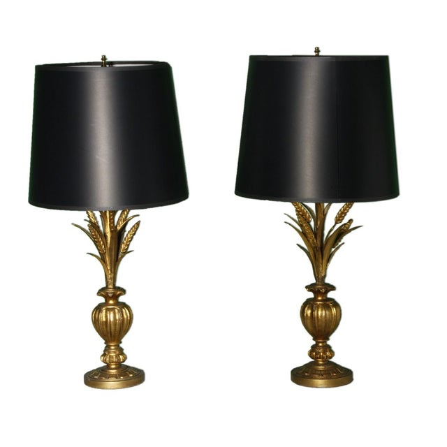 Image of Hollywood Regency Wheat Sheaf Lamps - A Pair