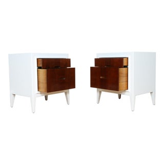 Mid-Century 2 Drawer Nightstands - A Pair