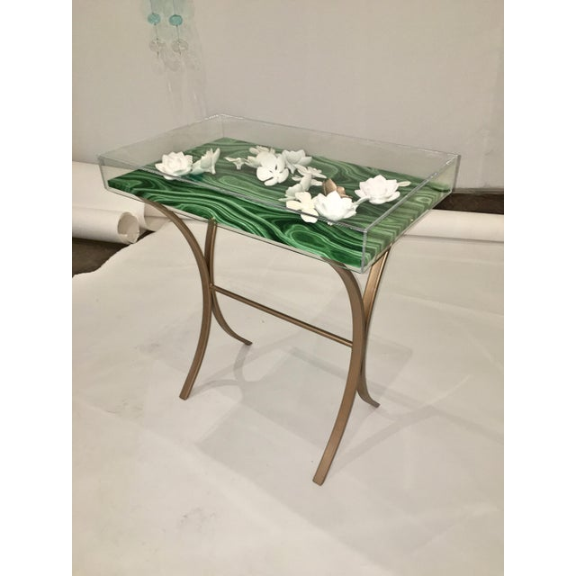 Image of Lucite Object d'art with Rose Tone Metal Side Table by AMK for Patricia Kagan
