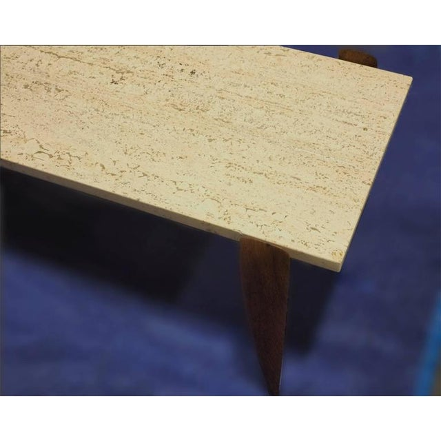 Image of Gio Ponti Travertine and Italian Walnut Cocktail Table