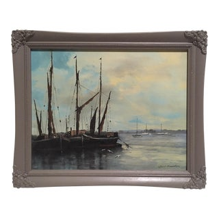 Mid-Century Harbor Scene Painting