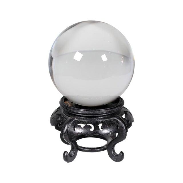 Hardwood Base Chinese Crystal Ball - Image 1 of 3