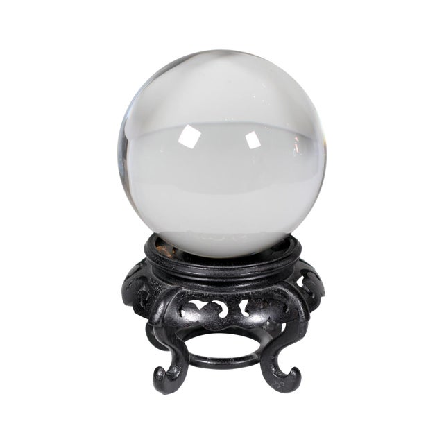 Image of Hardwood Base Chinese Crystal Ball