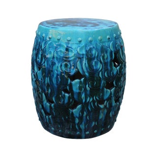 Chinese Ceramic Clay Green Turquoise Glaze Round Scroll Pattern Garden Stool