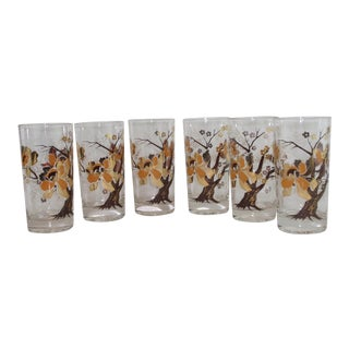 Vintage Culver Lotus Tree Glasses - Set of 6