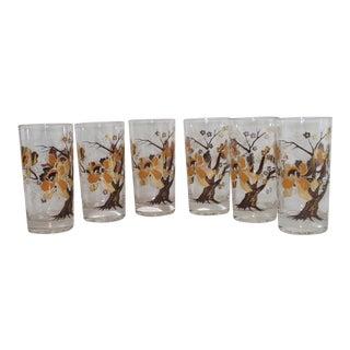 Vintage Culver Lotus Tree Glasses - Set of 6