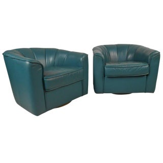 Contemporary Swivel Club Chairs - a Pair