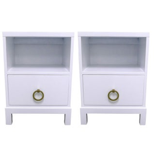 Robsjohn Gibbings Widdicomb White Nightstands - a Pair