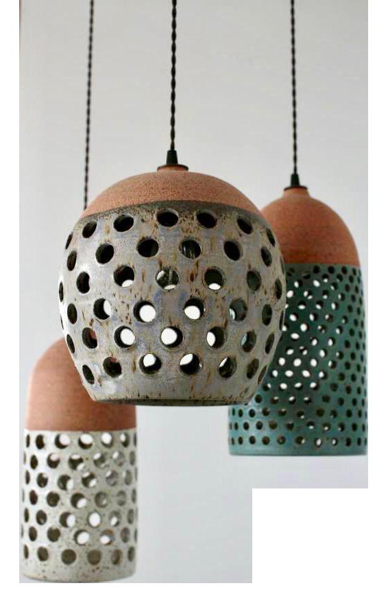 Heather Levine Ceramic Pendant Lamps - Set of 3