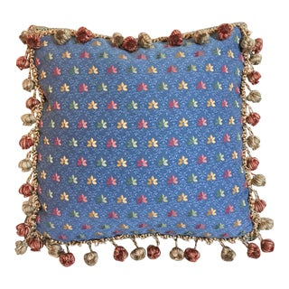Embroidered Needlepoint Box Pillow with Fringe