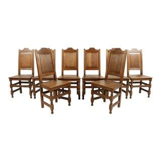 English Elizabethan Farmhouse-Style Oak Dining Chairs, S/8