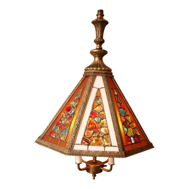 Regency Style Chandelier with Brutal Stained Glass - Image 1 of 6