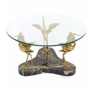 Willy Daro Style Marble & Brass Birds Coffee Table