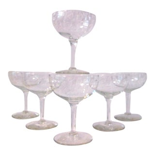 Mid Century Etched Leaves Cocktail Coupes - S/6