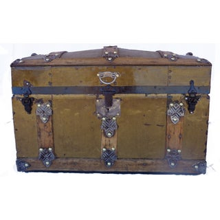 Antique Metal Covered Barrel Top Trunk
