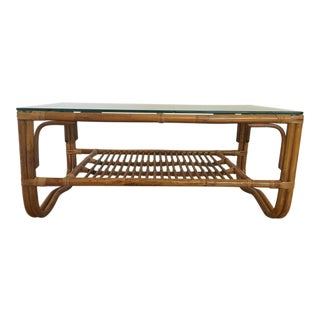Vintage Franco Albini Style Bamboo Glass Top Table
