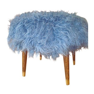 Reupholstered Blue Faux Fur Mid-Century Footstool