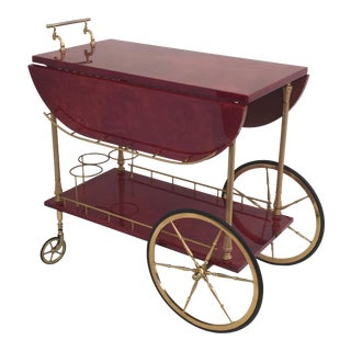 Aldo Tura Red Parchment Drop Leaf Bar Cart
