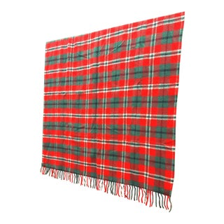 Wool Red Plaid Tartan Stadium Camping Picnic Throw Blanket