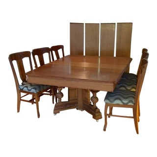 Expandable Antique Oak Banquet Size Table & 6 Chairs - Set of 7