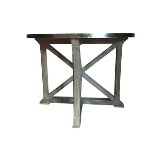 Wood and Metal Semi-Circle Console Table