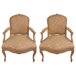Louis XV Style Bergere Arm Chairs - a Pair