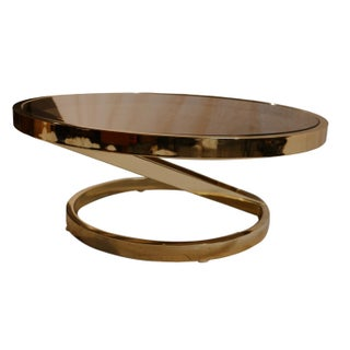 Milo Baughman Mid Century Modern Glass Brass Coffee Table