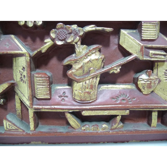 Antique Qing Dynasty Chinese Carved Wood Panel - Image 3 of 7