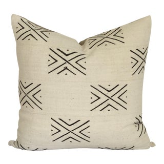 Vintage African White Mudcloth Pillow