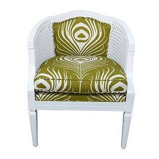 Cane Chair with Green Plume Upholstery