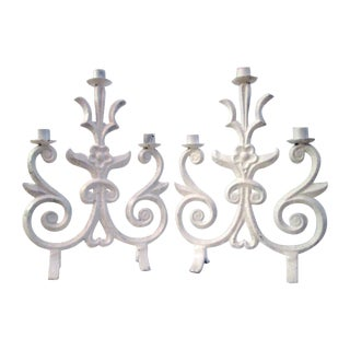Vintage White Wrought Iron Candelabras - Pair