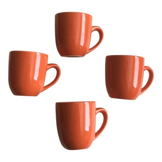 Mid-Century Orange Mugs - Set of 4