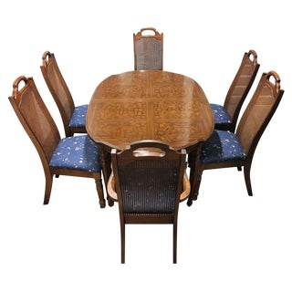 Vintage Solid Wood Dining Set with 6 Cane ChairsVintage   Used Dining Table   Chair Sets   Chairish. All Wood Dining Room Chairs. Home Design Ideas