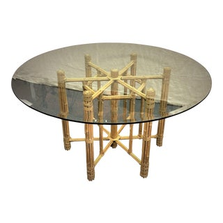 Vintage McGuire Bamboo Reed & Leather Dining Table