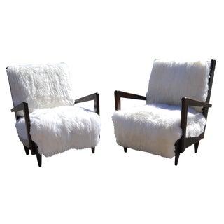 Italian Mid-Century Modern Sheepskin Armchairs - A Pair