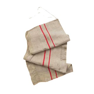 Vintage Large Double Red Striped Grain Feed Sack