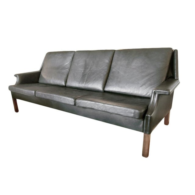 Black Mid Century Modern Sofas: Black Leather Mid-Century Modern Sofa