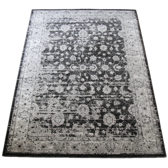"Distressed Vintage Gray Rug - 4' x 5'8"" - Image 3 of 7"
