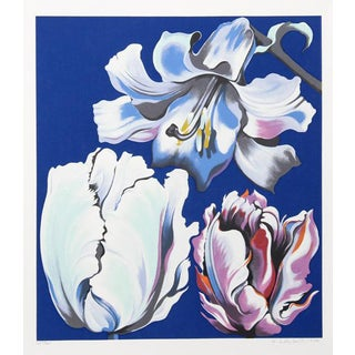 "1980 ""Flowers on Blue"" Print by Lowell Blair Nesbitt"