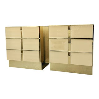 Vintage Modern Gold Chrome Nightstands by Ello - A Pair