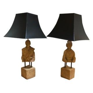 Vintage Asian Stone Figure Table Lamps - Pair