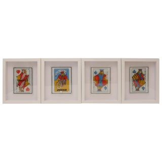 "Framed Dorothy Thorpe ""Playing Card"" Serving Dishes - Set of 4"
