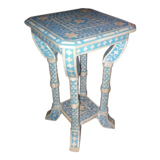 India Bone Inlaid Side Table Blue