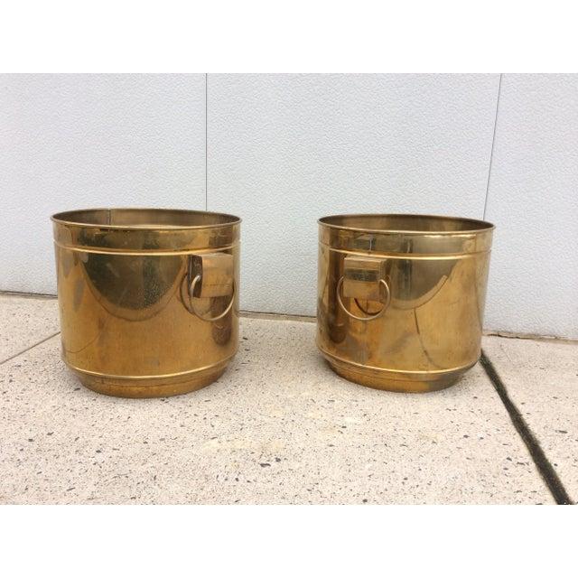 Large Vintage Modern Brass Planters - Image 2 of 7