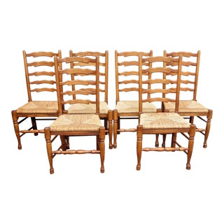 Vintage French Country Ash Wood Dining Chairs - Set of 6
