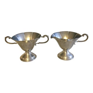 Art Nouveau Pewter Sugar Bowl & Creamer - A Pair